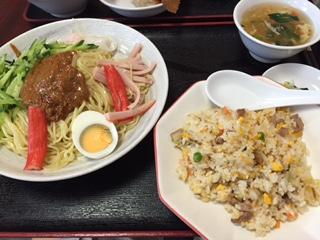 担々冷やし麺+小チャーハンの中華ランチです