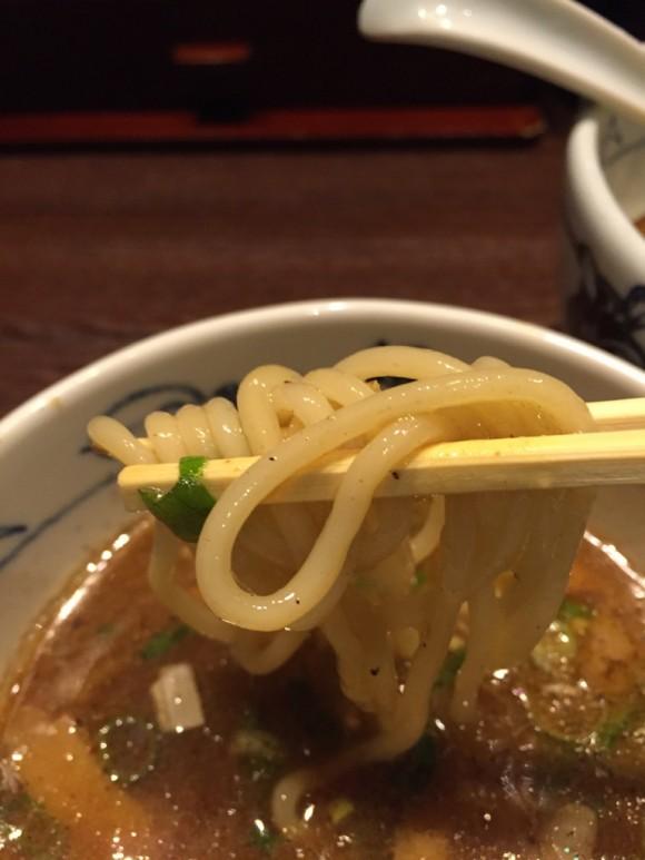 麺屋武蔵 蒲田店のつけ麺の太麺です