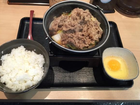 牛丼の吉野家「牛すき鍋膳」です