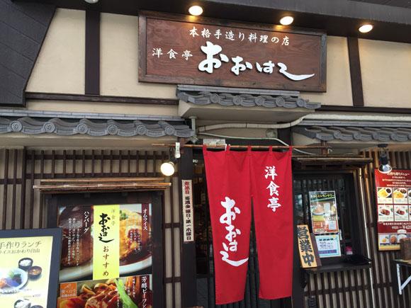 大森駅東口にある「洋食亭 おおはし」の入口です
