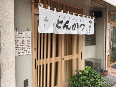 蒲田西口の老舗とんかつ屋さん「鈴文(すずぶん)」の入口です