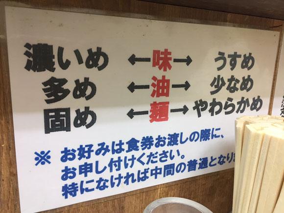 蒲田工学院通りにある「らーめん 吟太」では味の好みをリクエストできます